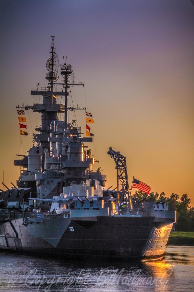 USS North Carolina at Dusk